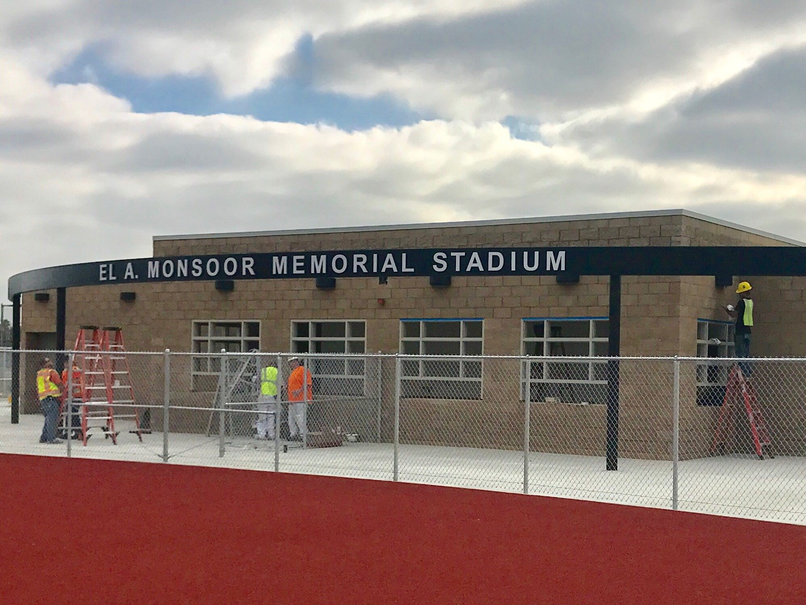 Crews working on the final touches of the concession stand at Michael A. Monsoor Memorial Stadium.