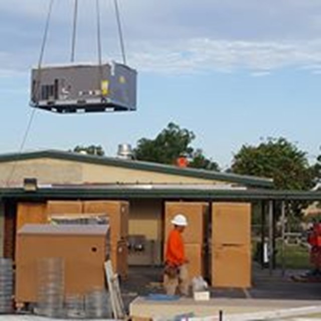 New a/c units being put into place at Rosita Elementary School.