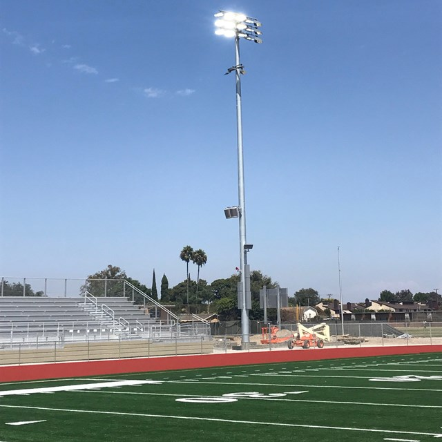 Crews test the lights at the new Michael A. Monsoor Memorial Stadium.