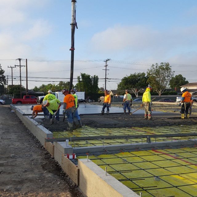 Concrete being poured for second set of buildings at Pacifica.