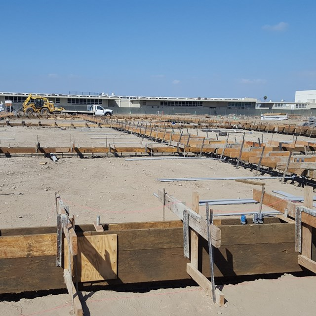 Getting ready for the framing of the new set of buildings at Pacifica.