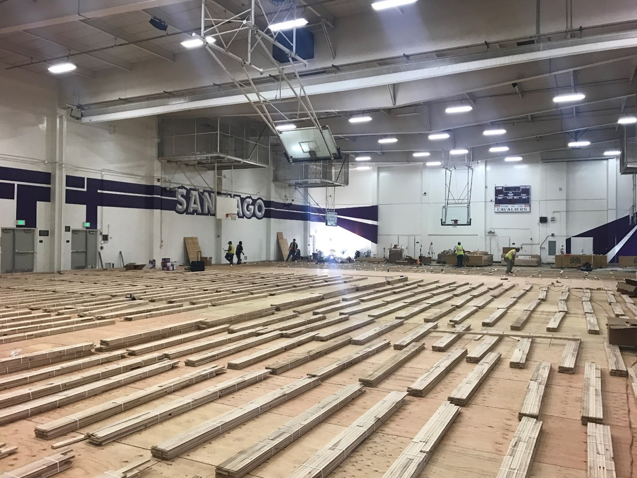New Santiago High School gymnasium floor being prepped for installation.